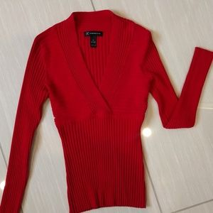 Red red ribbed sweater